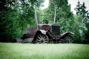 old car at Blue Lake Camp - trout fishing lodge on Kirkpatrick Lake