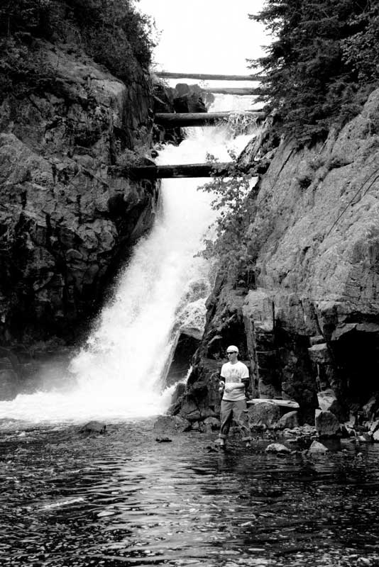 waterfall fishing at Blue Lake Camp - trout fishing lodge on Lake Kirkpatrick